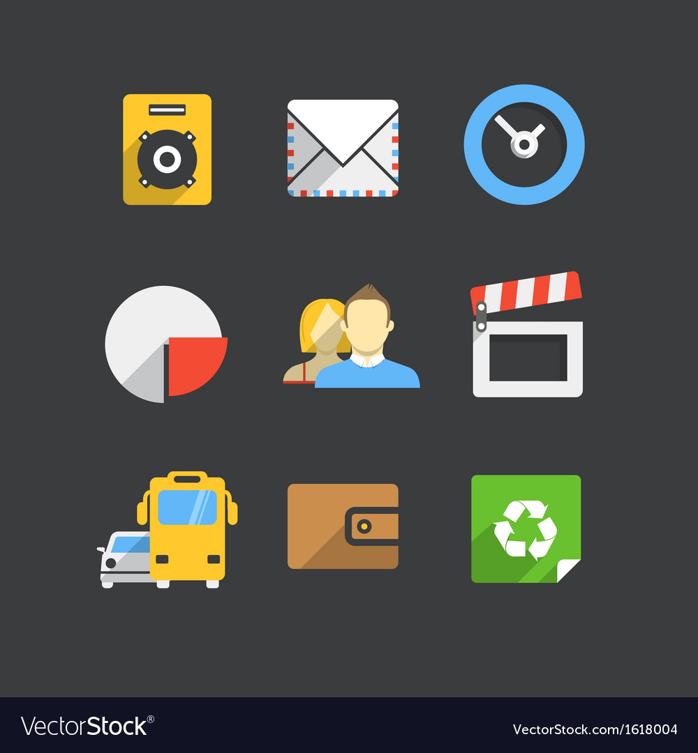 Trendy modern color web interface icons collection vector | Price: 1 Credit (USD $1)
