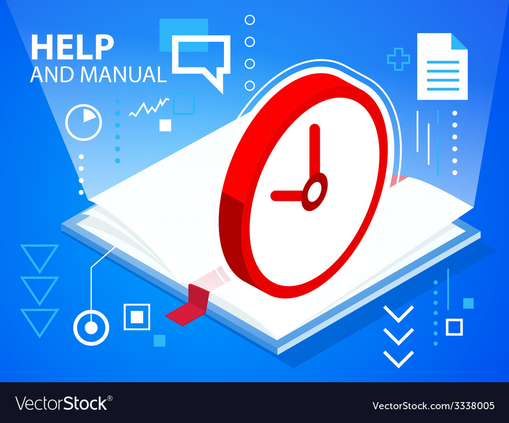 Bright help book and clock on blue backgroun vector | Price: 3 Credit (USD $3)