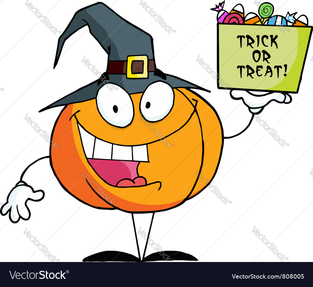 Cartoon character pumkin a bag of candy vector | Price: 1 Credit (USD $1)