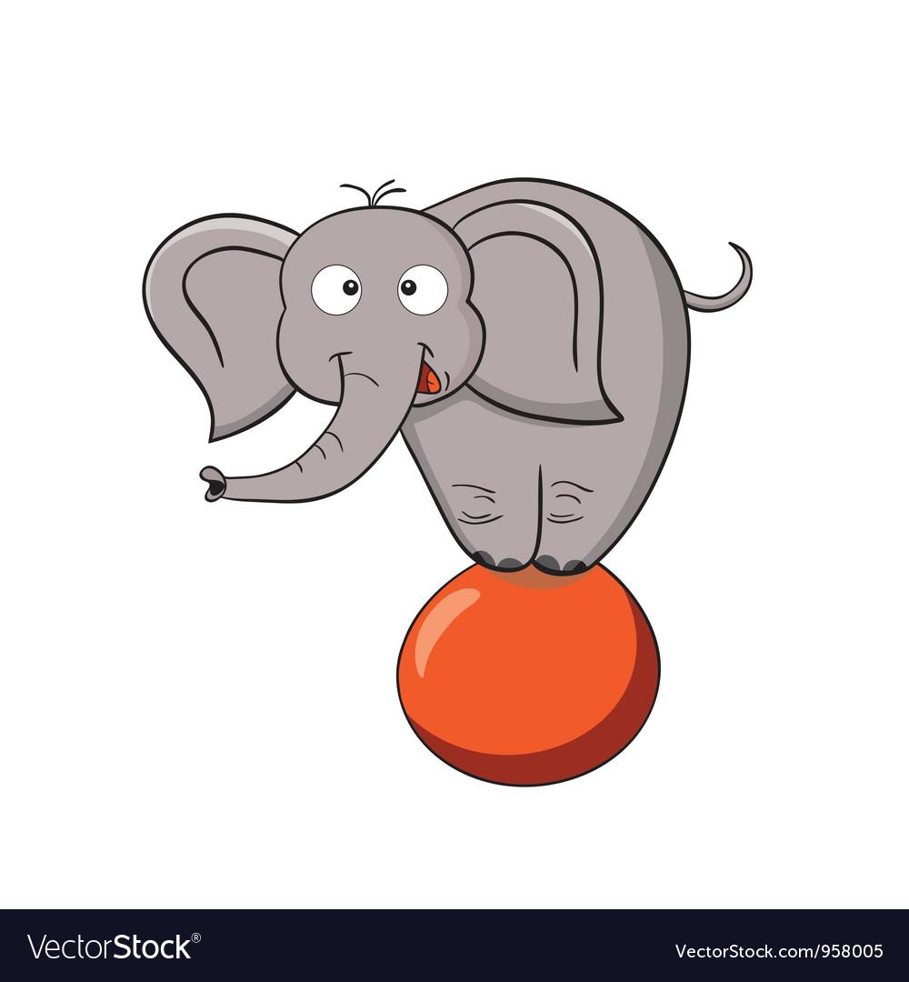 Cartoon elephant on a ball vector | Price: 1 Credit (USD $1)
