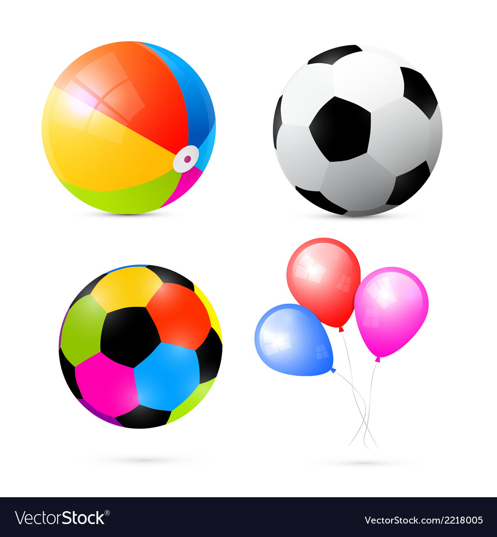 Colorful beach air and beach balls set vector | Price: 1 Credit (USD $1)