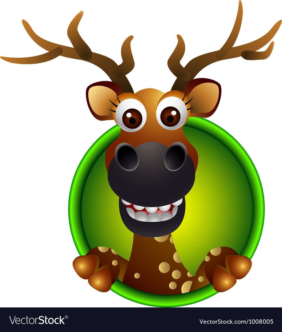 Cute deer head cartoon vector | Price: 3 Credit (USD $3)
