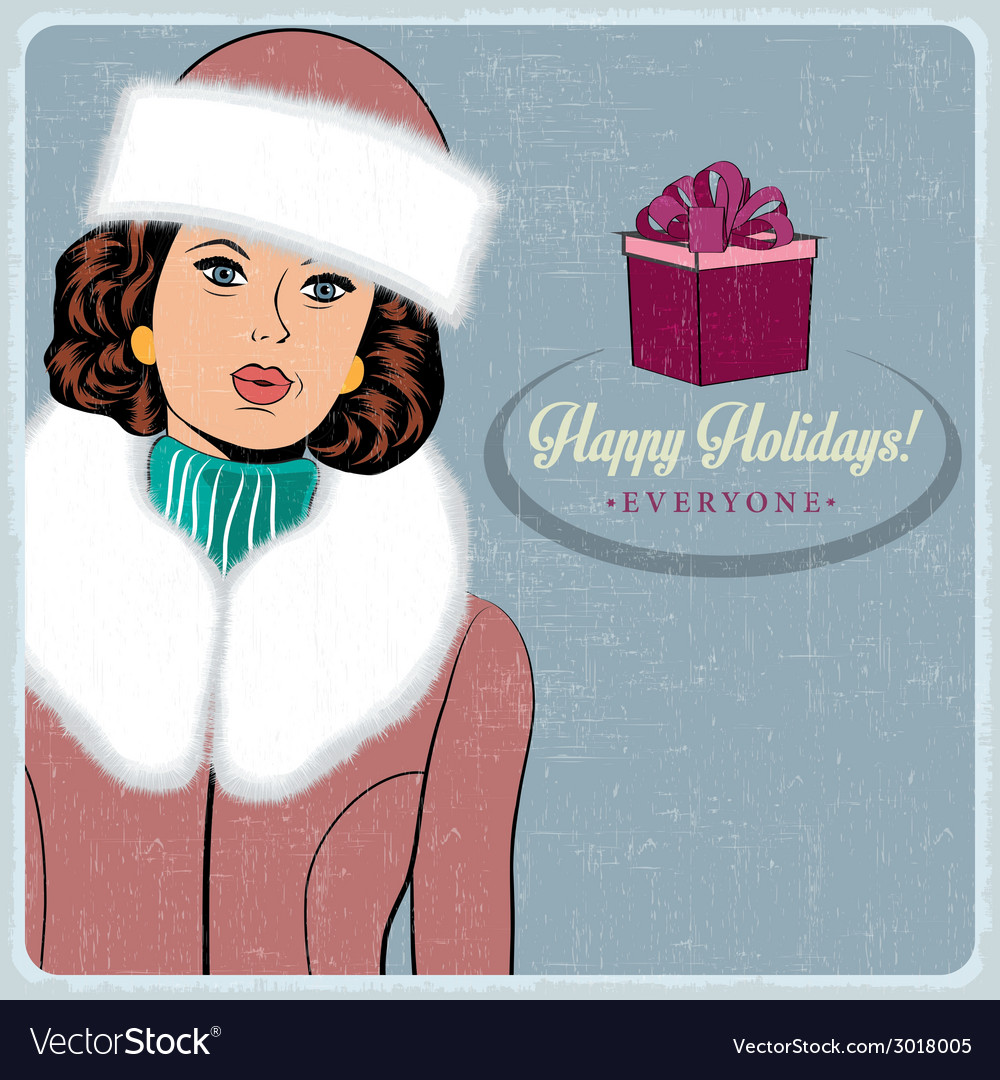 Elegant young and happy woman in winter retro vector | Price: 1 Credit (USD $1)