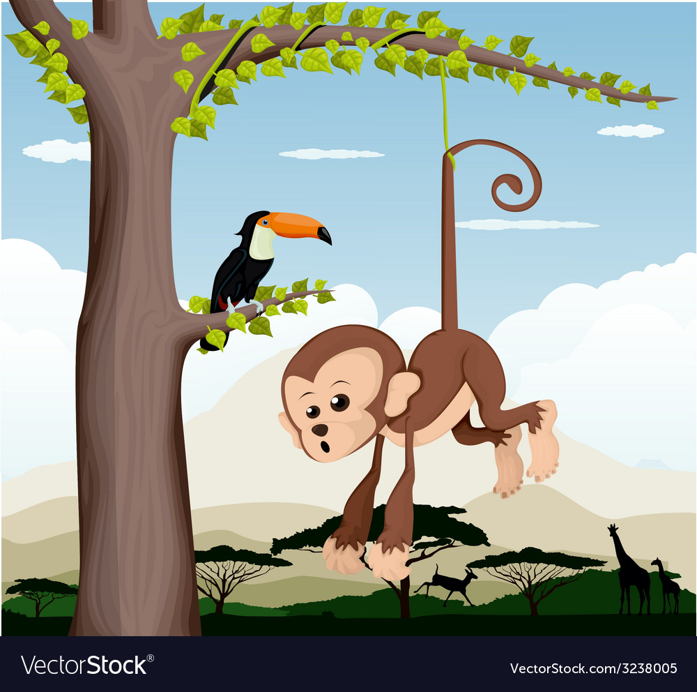 Monkey and a bird in a tree vector | Price: 1 Credit (USD $1)