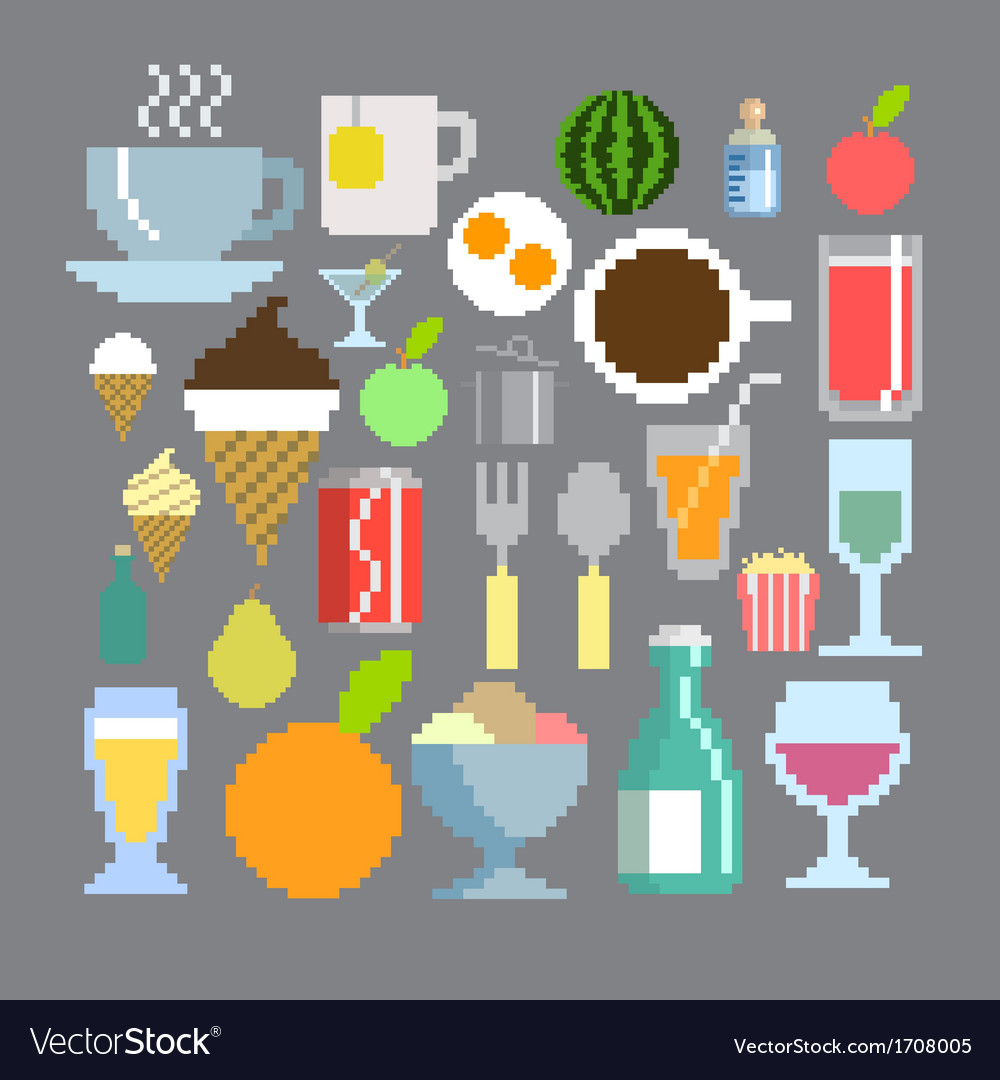 Pixel art style food and drink set vector | Price: 1 Credit (USD $1)