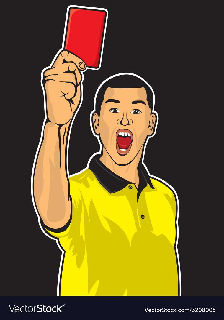 Sudija sa kartonom crvenim nervoza vector | Price: 1 Credit (USD $1)