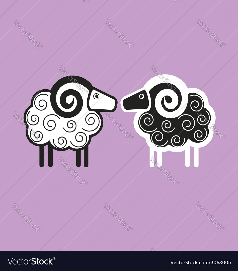 Two goats vector | Price: 1 Credit (USD $1)