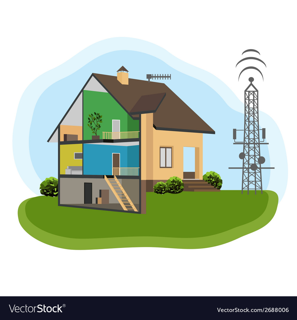 Antenna and house vector | Price: 1 Credit (USD $1)