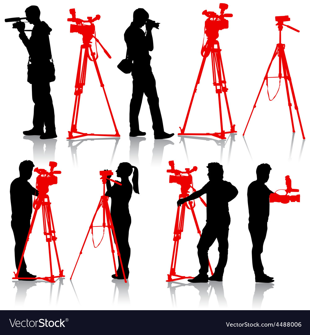 Cameraman with video camera silhouettes on white vector | Price: 1 Credit (USD $1)