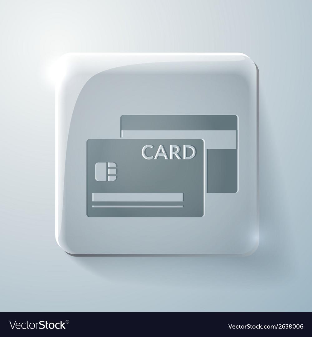 Credit card glass square icon vector | Price: 1 Credit (USD $1)