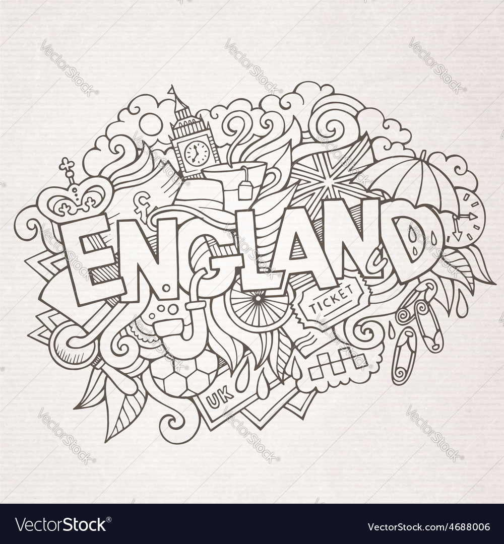 England hand lettering and doodles elements vector | Price: 1 Credit (USD $1)