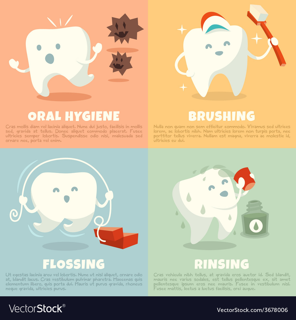 Oral hygiene banners with cute tooth vector | Price: 1 Credit (USD $1)