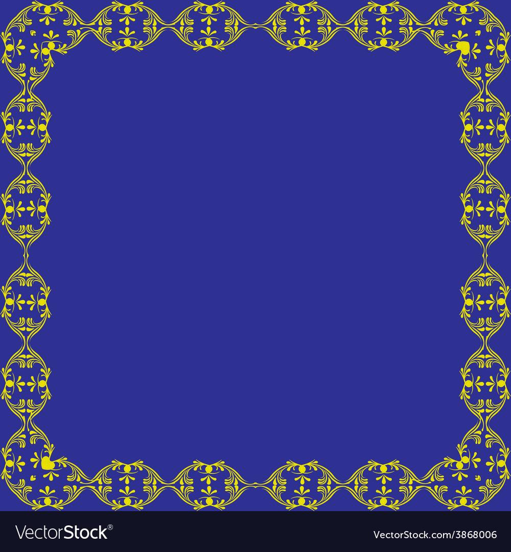 Ornamental frame blue background vector   Price: 1 Credit (USD $1)