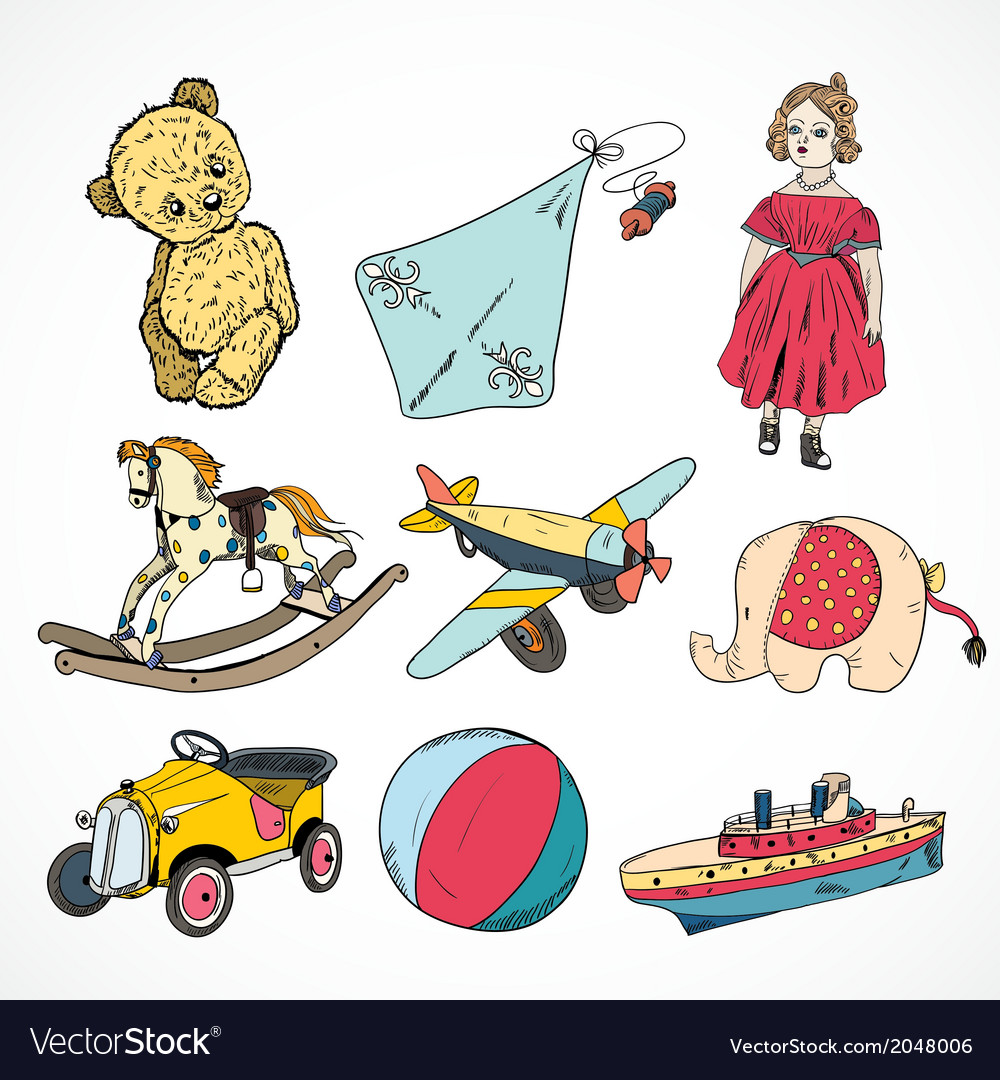 Toys colored sketch icons set vector | Price: 1 Credit (USD $1)