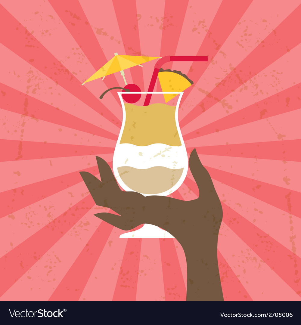 With glass of pina colada and hand vector | Price: 1 Credit (USD $1)