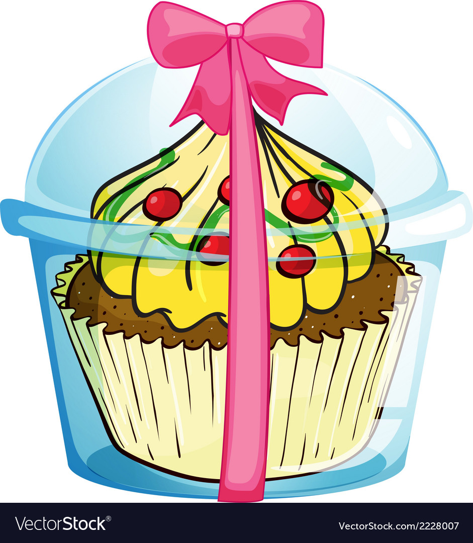 A cupcake with a pink ribbon vector | Price: 1 Credit (USD $1)