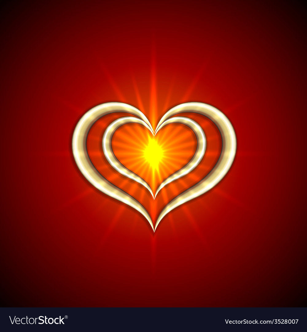 Abstract bright red background with golden hearts vector | Price: 1 Credit (USD $1)