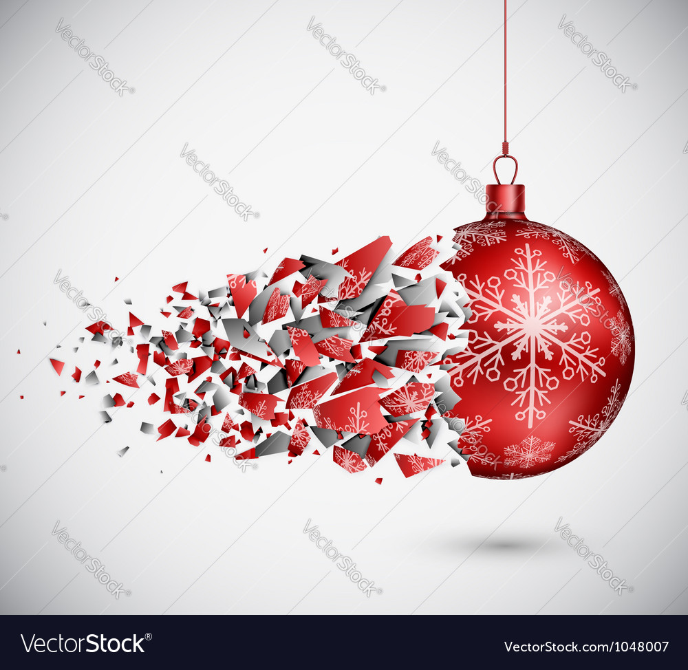 Broken red christmas ball vector | Price: 1 Credit (USD $1)