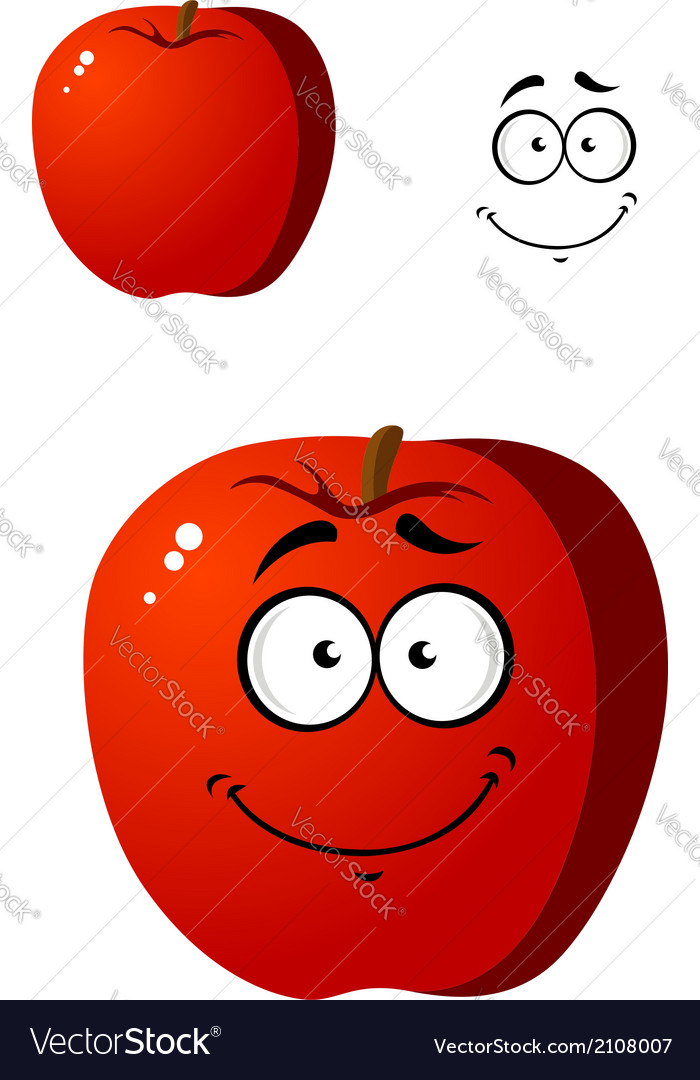 Cartoon smiling happy red apple fruit vector | Price: 1 Credit (USD $1)