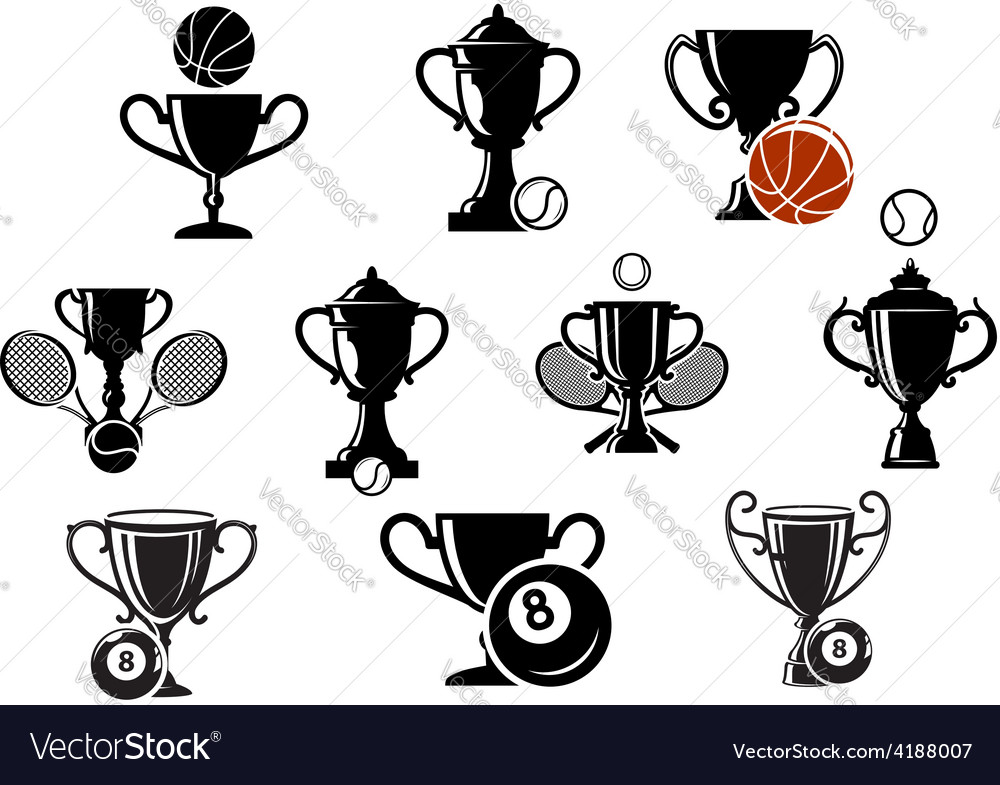 Isolated sporting trophy icons set vector | Price: 1 Credit (USD $1)