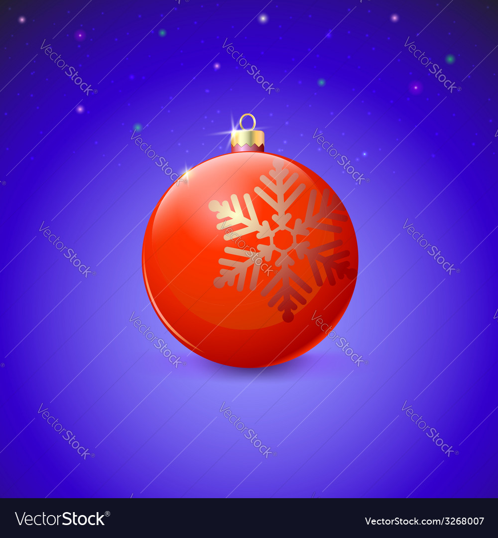 Red christmas ball with snowflake over starry vector | Price: 1 Credit (USD $1)
