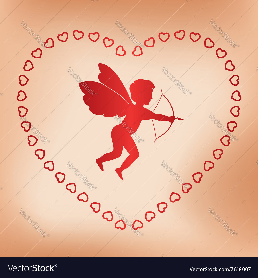 Romantic card with angel for valentine day vector | Price: 1 Credit (USD $1)
