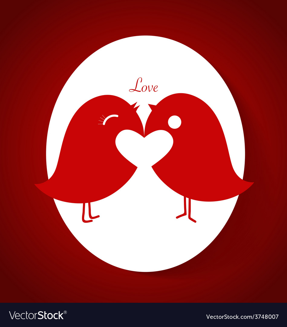 Romantic wedding card design with birds vector