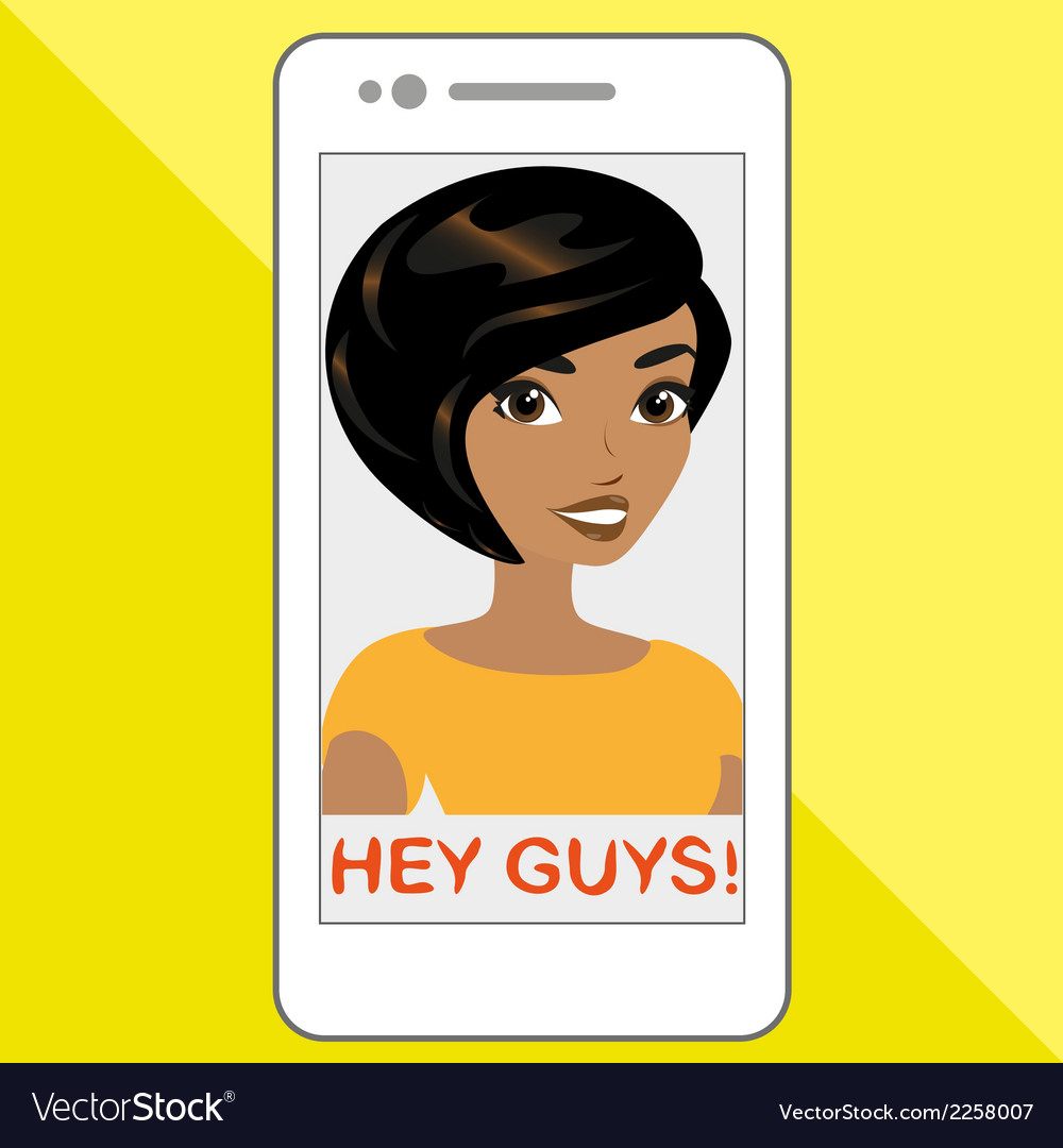 Selfie of blackhair girl vector | Price: 1 Credit (USD $1)