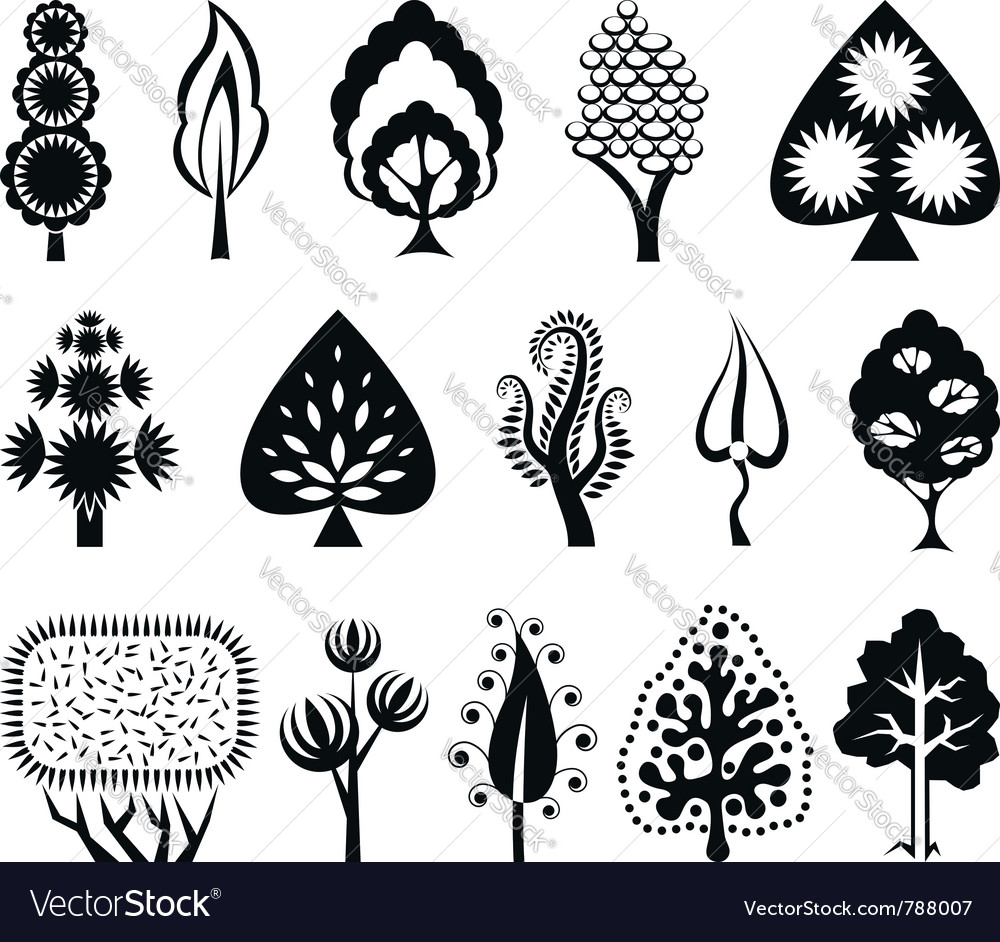 Set of decorative graphic trees vector | Price: 1 Credit (USD $1)