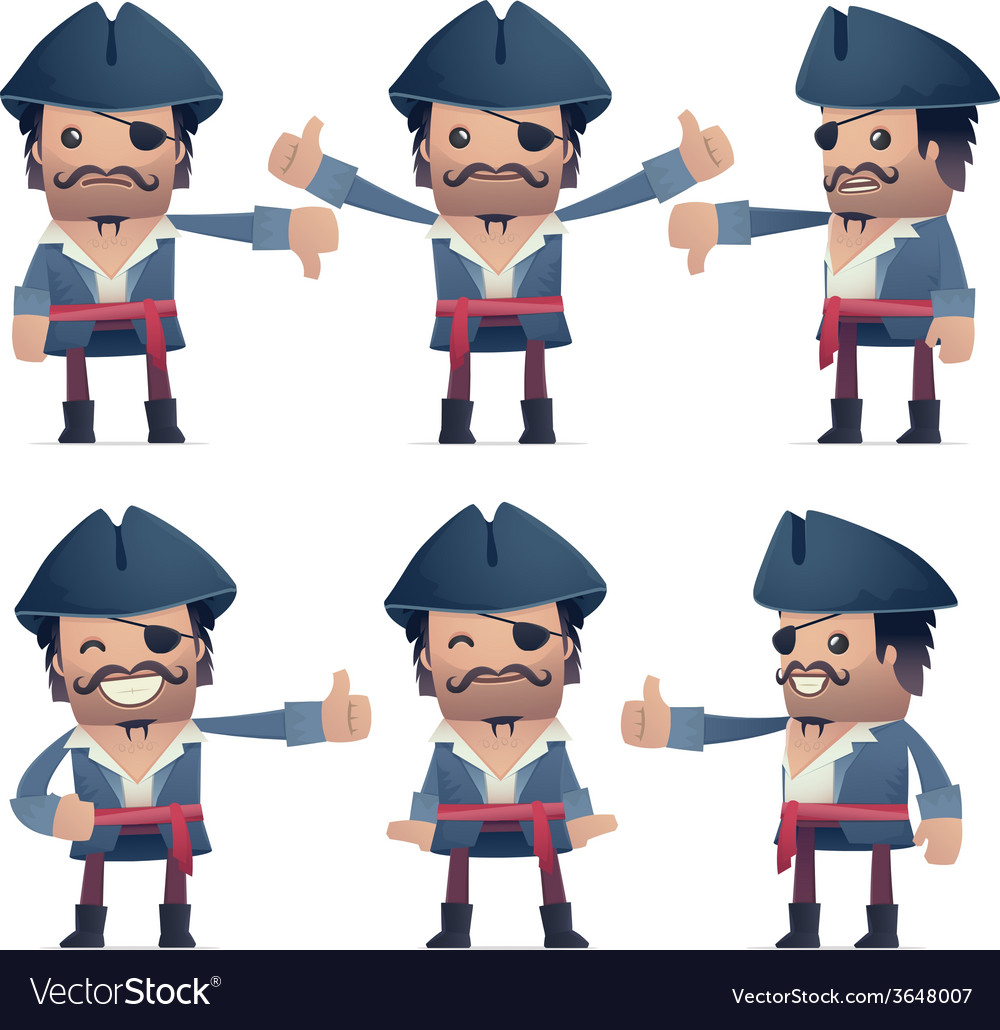 Set of pirate character in different poses vector   Price: 1 Credit (USD $1)