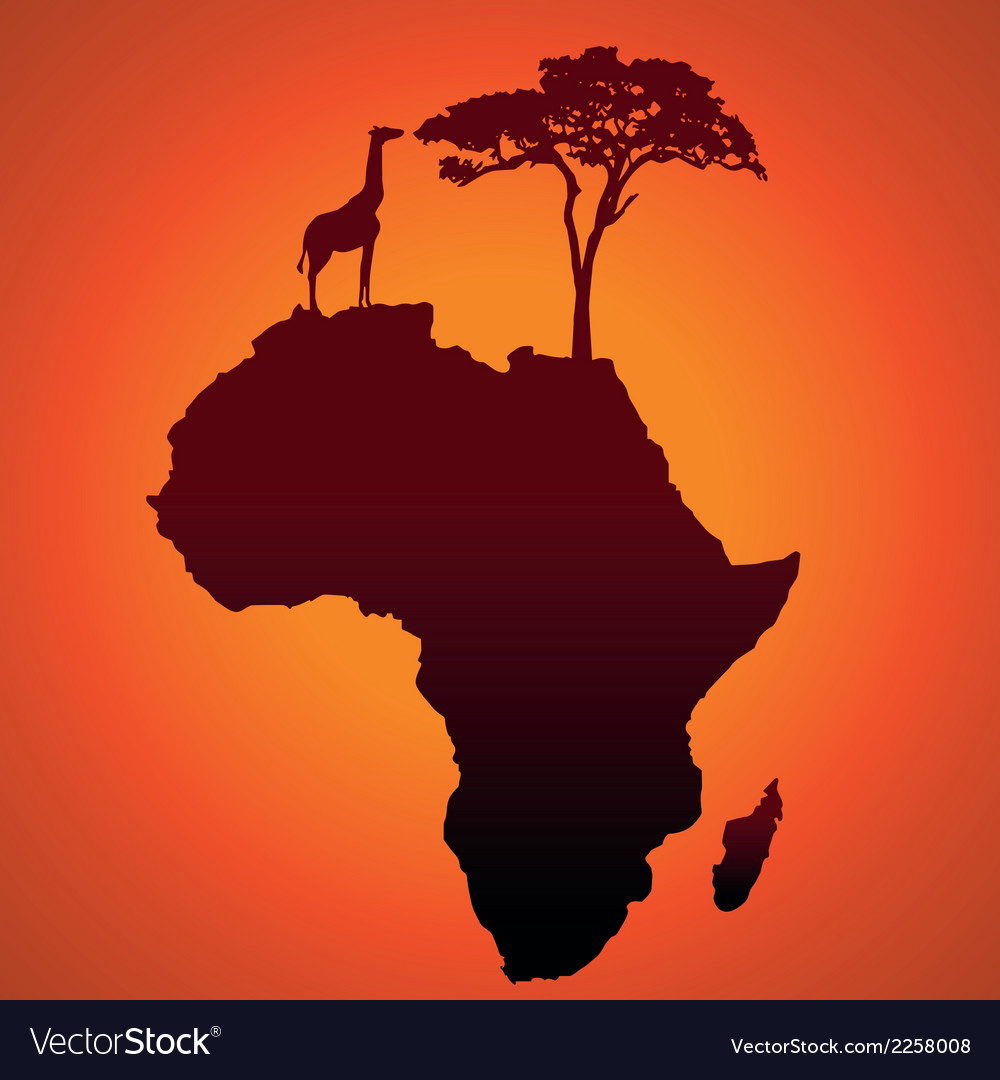 African safari map silhouette background vector | Price: 1 Credit (USD $1)