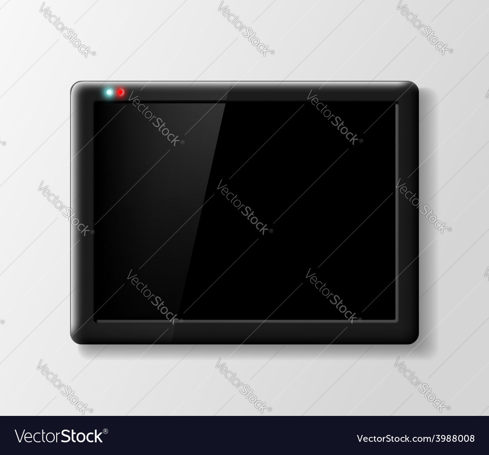 Black digital tablet on a gray background vector | Price: 1 Credit (USD $1)