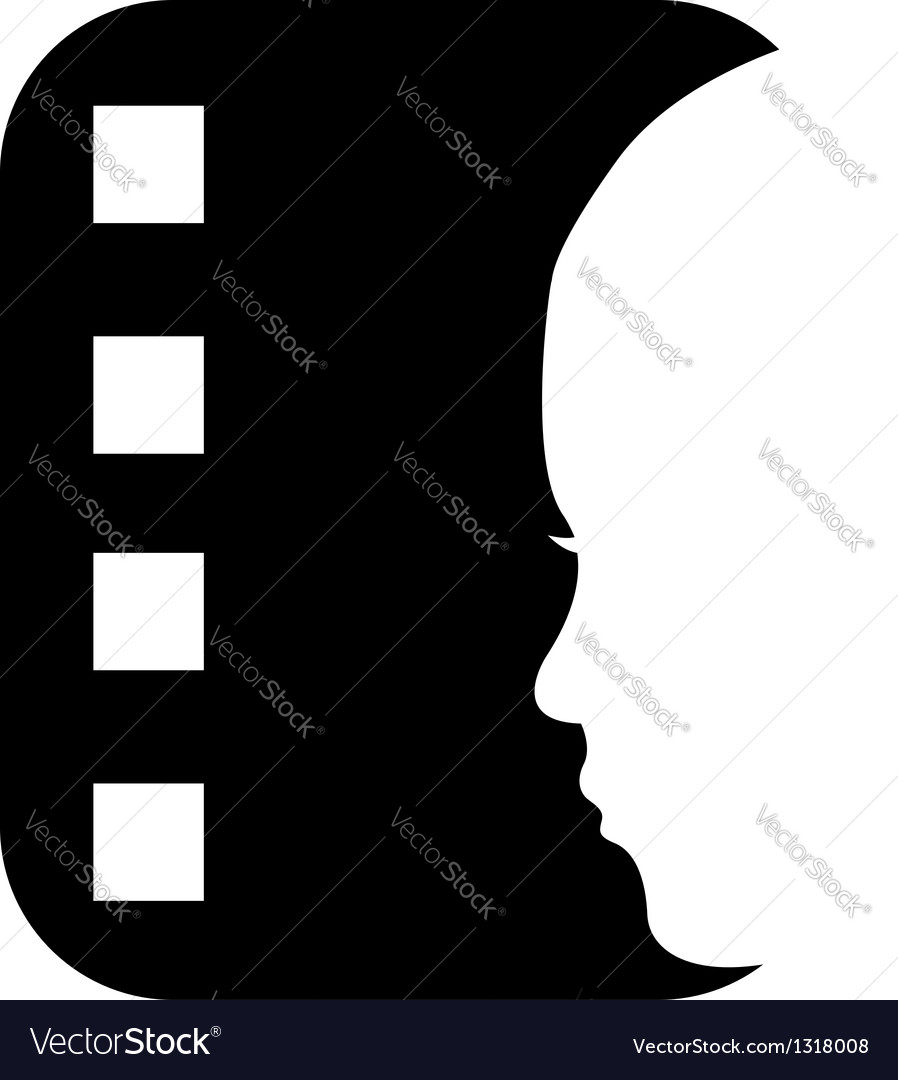 Cinema reel logo with a ladys face vector