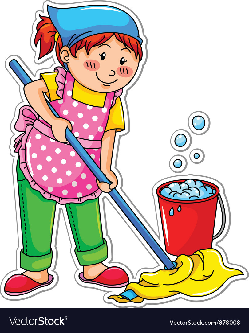 Cleaning girl vector | Price: 1 Credit (USD $1)