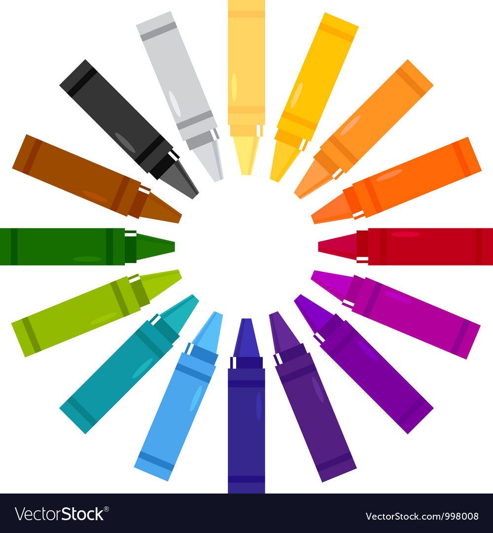 Colorful crayons in circle vector | Price: 1 Credit (USD $1)