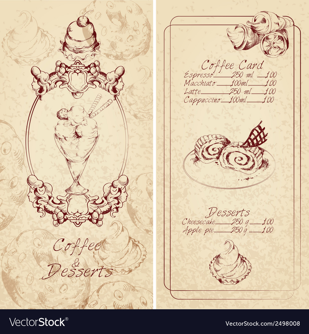 Desserts menu template vector | Price: 1 Credit (USD $1)