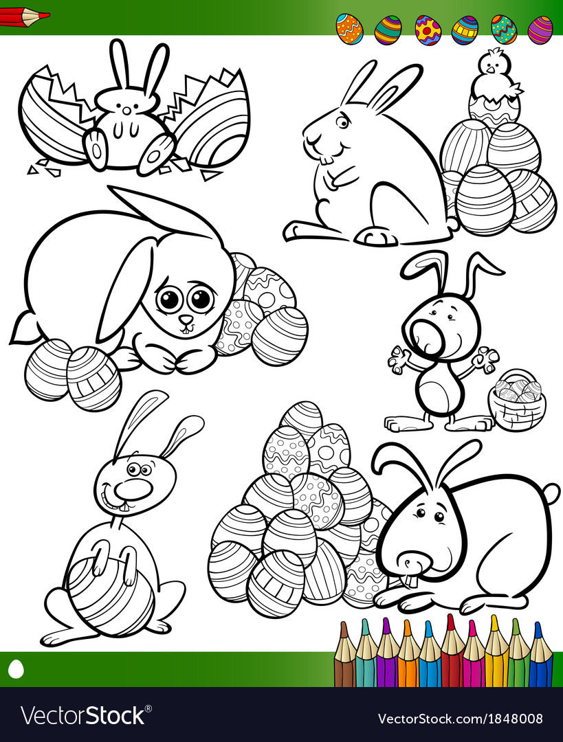Easter cartoons for coloring book vector | Price: 1 Credit (USD $1)