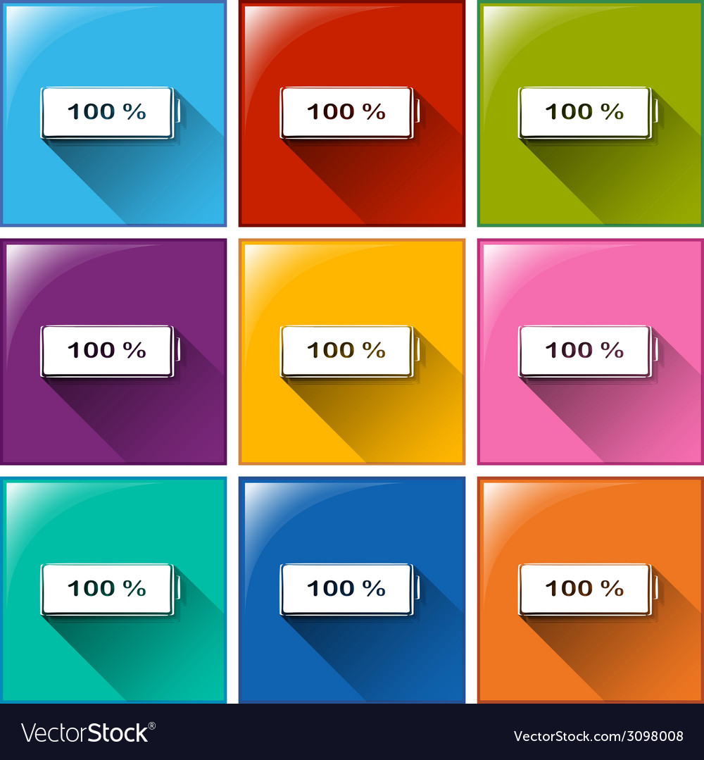 Fully charged battery buttons vector | Price: 1 Credit (USD $1)