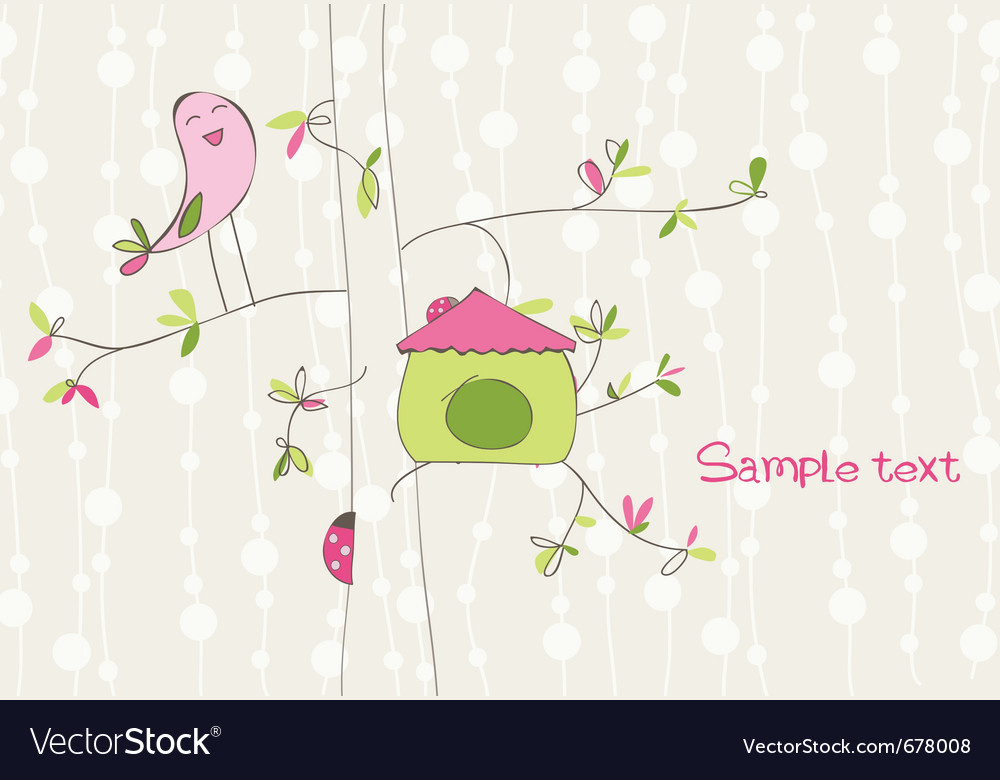 Greeting card with bird house vector | Price: 1 Credit (USD $1)