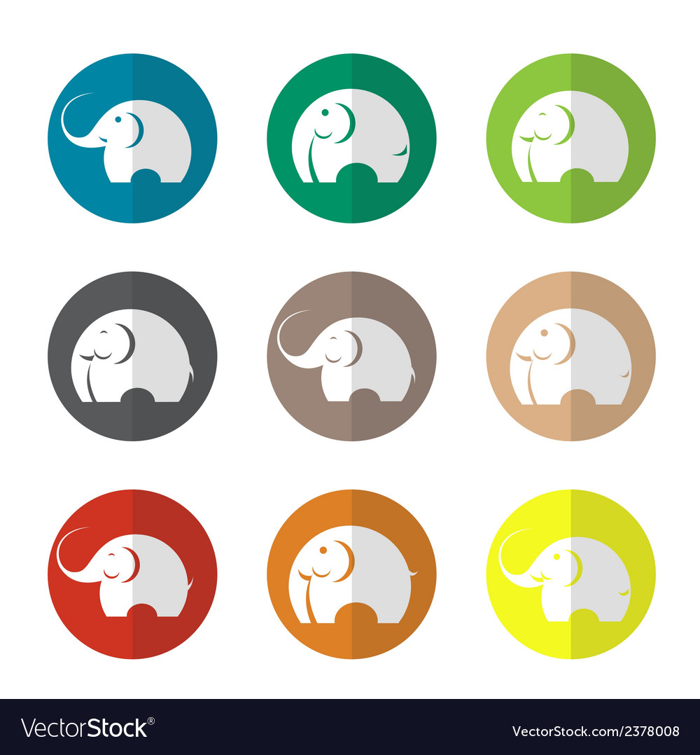 Group of elephant in the circle vector