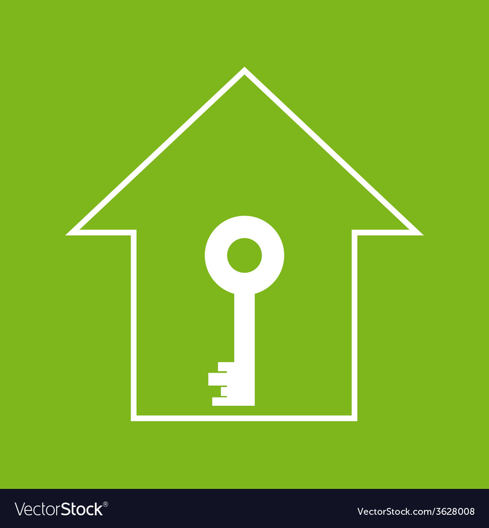 House with key white on green vector | Price: 1 Credit (USD $1)