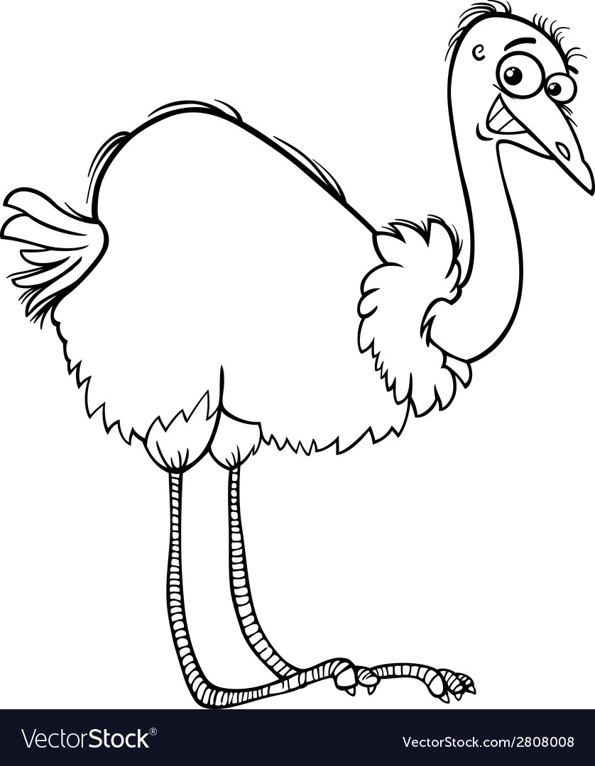 Nandu ostrich cartoon coloring page vector | Price: 1 Credit (USD $1)