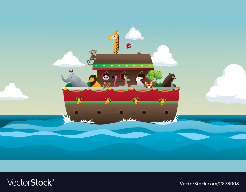 Noah ark with animals in sea and sky vector | Price: 1 Credit (USD $1)