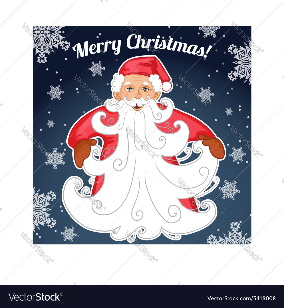 Santa claus with christmas tree made from his vector