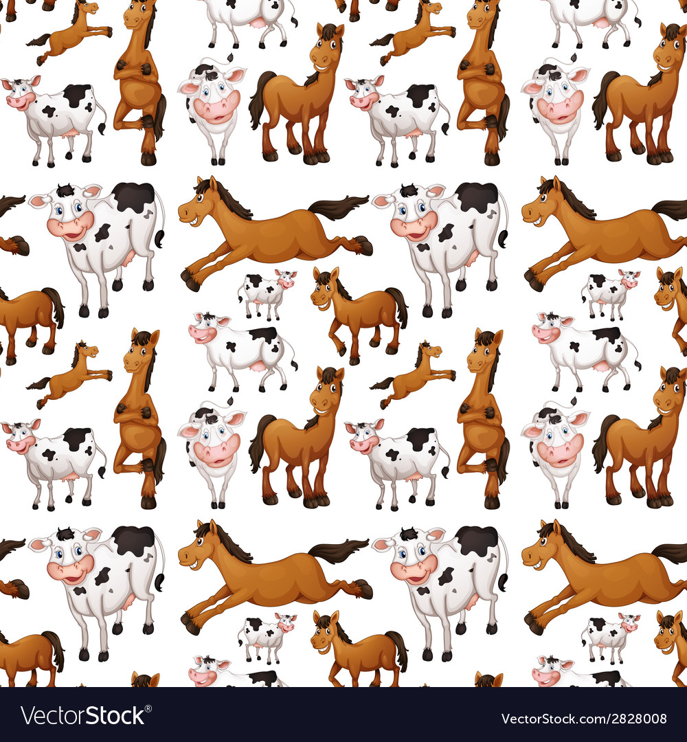 Seamless cow and horse vector | Price: 1 Credit (USD $1)