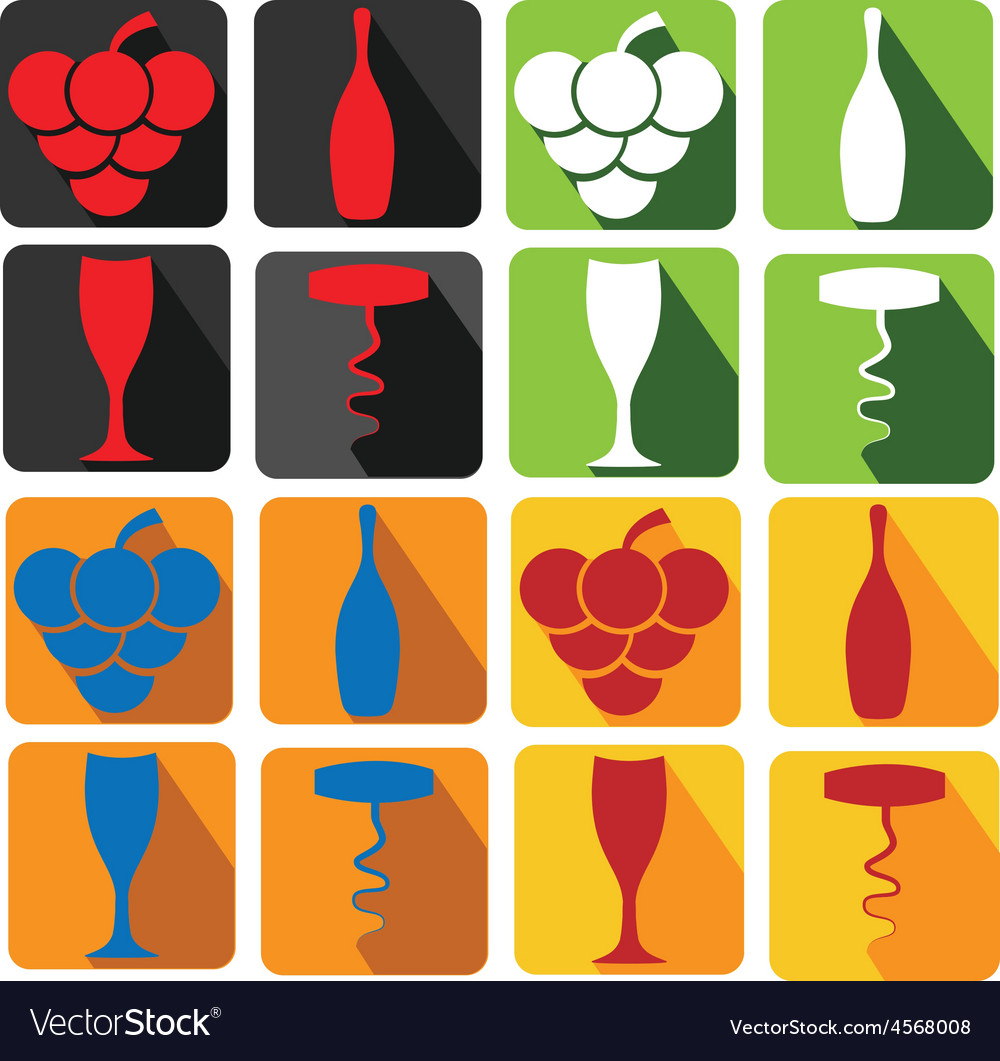 Set of wine icons vector | Price: 1 Credit (USD $1)