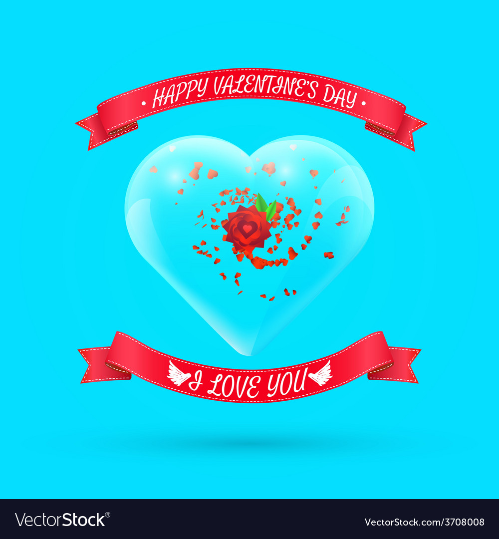 Valentines day background with flower within glass vector | Price: 1 Credit (USD $1)