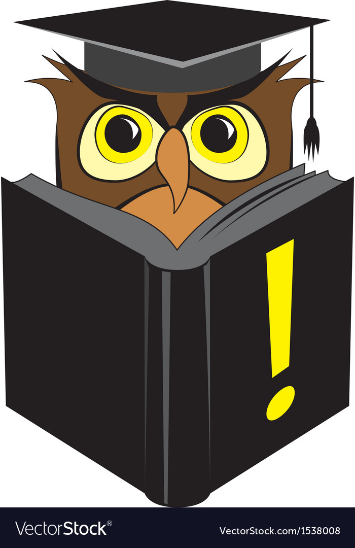 Wise owl reading black book vector | Price: 1 Credit (USD $1)