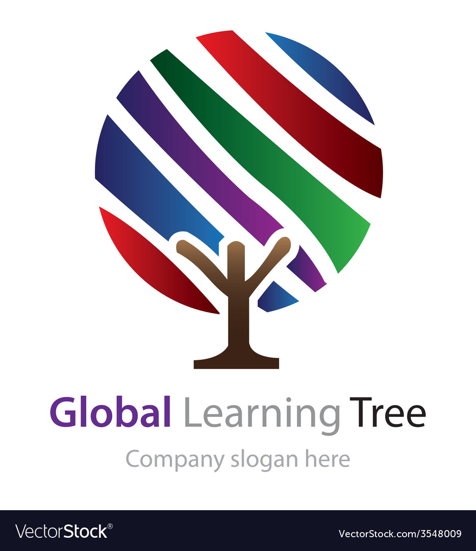 Abstract global learning tree logo vector | Price: 1 Credit (USD $1)
