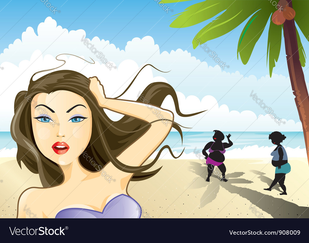 Beauty and the beach vector | Price: 3 Credit (USD $3)